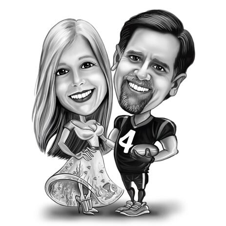 Full Body Wedding Couple Sketch Drawing in Black and White Style - example