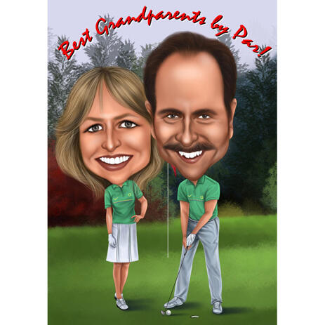 Couple Golf Caricature from Photos - example