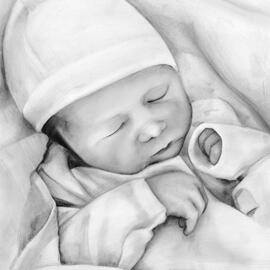 Beautiful Kid Portrait Drawing in Black and White Pencils