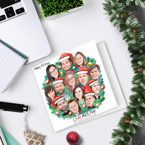 Happy Holidays - Custom Corporate Christmas Set of 10 Caricature Cards from Photos with Company Logo - example