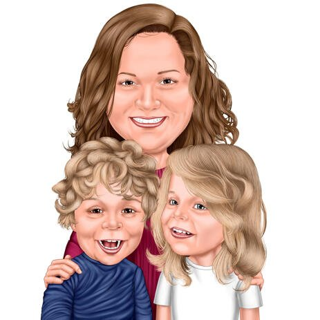 Loving Mom with Two Kids Caricature from Photos for Gift - example