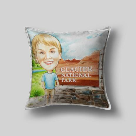 Colored Boy Caricature on Pillow - example