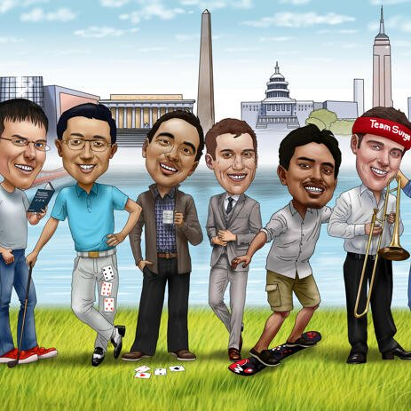Custom Group Caricature from Photos - example