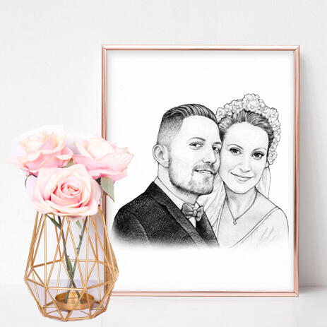 Just Married Caricature Printed as Poster - example
