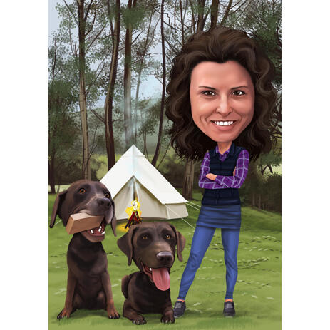 Owner with Pets Caricature with Colored Background - example
