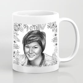 Personalized Mug: Printed Photo Mug with Monochrome Portrait Drawing