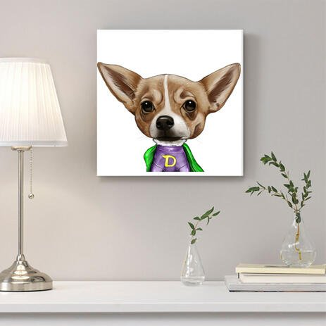 Dog Caricature from Photos Printed as Canvas - example