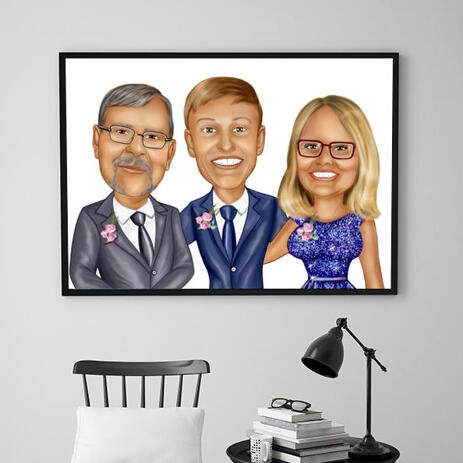 Wedding Group Caricature Printed as Poster - example