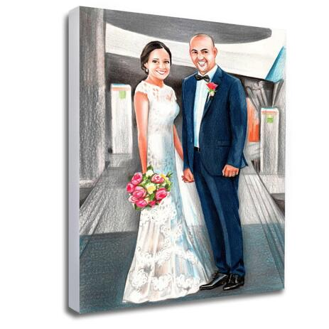 Hand-Drawn Bride and Groom Portrait Printed on Canvas - example