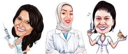 Sjuksköterska karikatyr