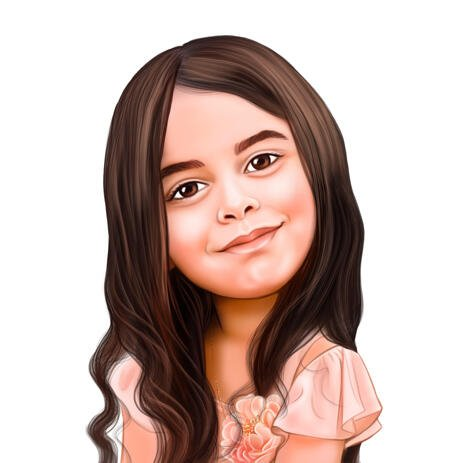 Personalised Pretty Caricature Headshot in Colored Style from Photos for Girl Gift - example