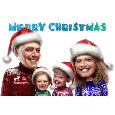 Christmas Family Caricature Portrait in Santa's Hats: Merry Christmas - example