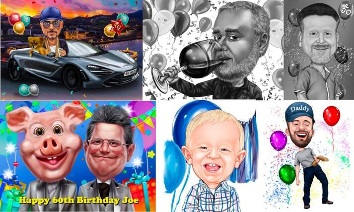 Birthday Caricature for Him large example