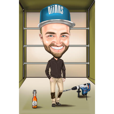Full Body Man with Hammer Drill Caricature from Photo on Custom Background - example