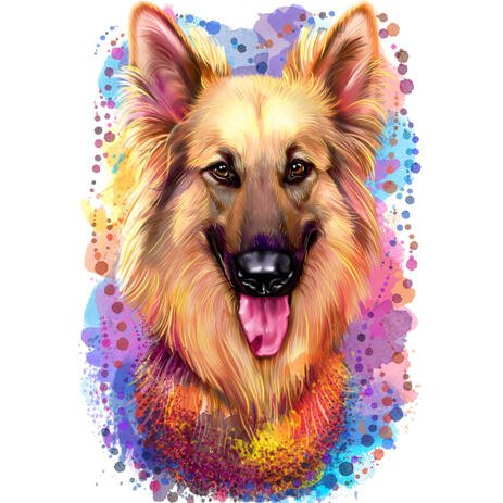 Cute Natural Watercolor Style German Shepherd Dog Portrait from Photos - example