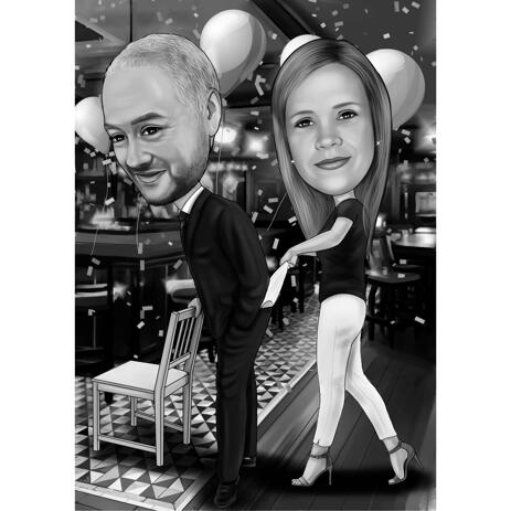 Funny Monochrome Regular Style Birthday Boy Couple Caricature from Photos for Gift - example