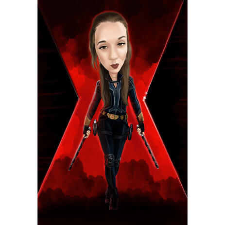 Cool Superhero Woman Full Body Caricature with Custom Background - example