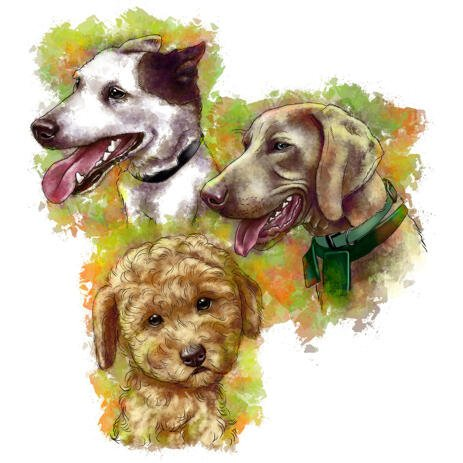 Head and Shoulders Earthy Color Dogs Caricature Portrait from Photos - example