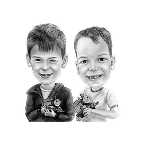Kaksi lasta karikatyyri mustavalkoisena tyylillä valkoisella pohjalla - example
