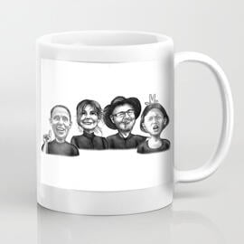Group Caricature on Coffee Mug