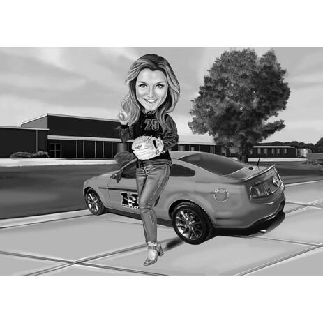 Black and White Caricature of Person with Car Background - example