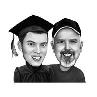 Parent with Graduate Caricature in Black and White Style from Photos