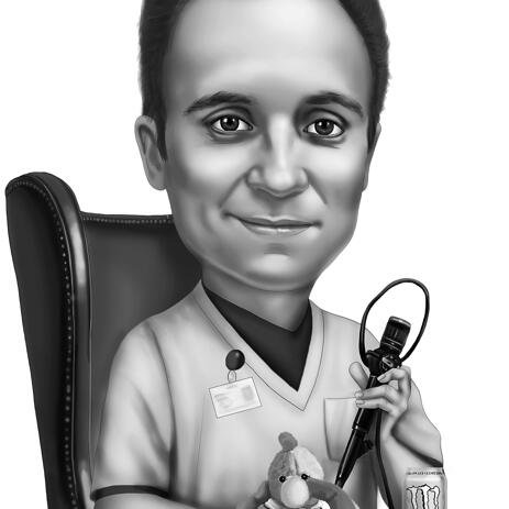 Black and White Digital Cartoon Drawing in Professions Uniform - example