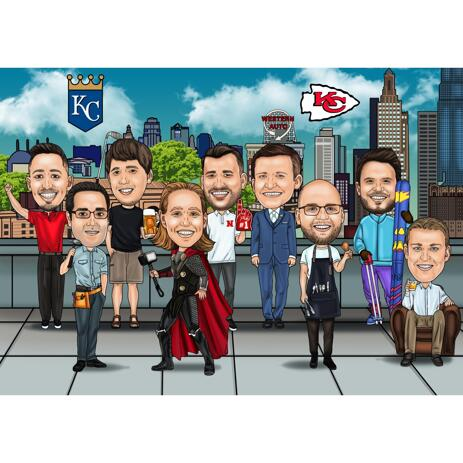 Custom Group Caricature Showcasing Different Hobbies - example