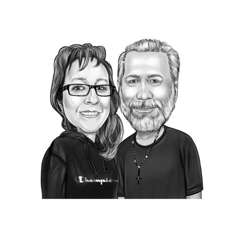 Black and White Caricature for Grandparents as Custom Gift from Photos - example