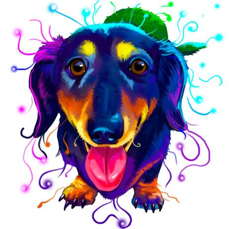 Full Body Dachshund Portrait in Colorful Watercolor from Photos - example