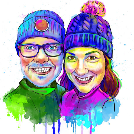 Portrait de couple arc-en-ciel dessin à partir de photos - example