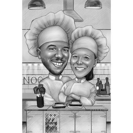 Couple Chef Caricature for Cooking Lovers - example