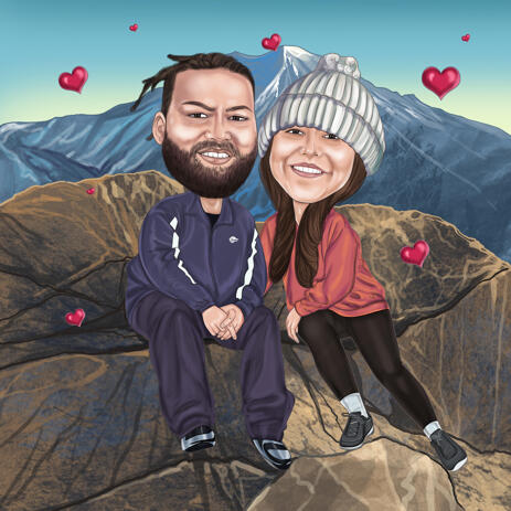 Couple Cartoon Drawing with Mountain Background for Romantic Valentines Gift - example