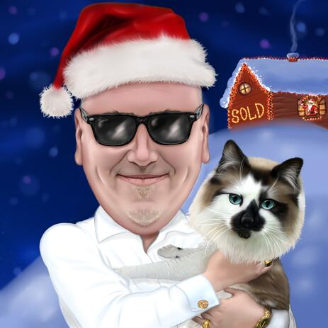 Owner with Cat Christmas Caricature for Custom Gift - example