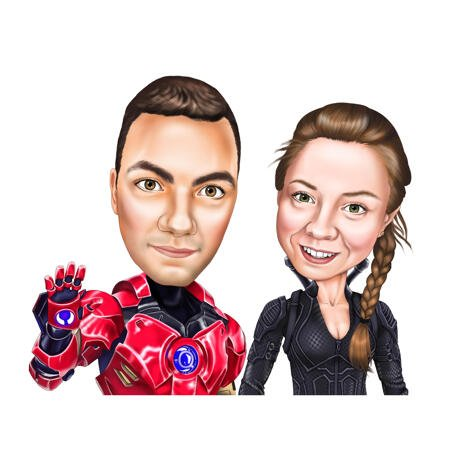 Couple Caricature Cartoon Portrait Gift in Color Style as Favorite Superhero - example