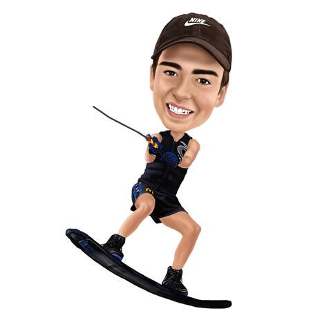 Wakeboarding Caricature from Photos on White Background - example