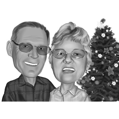 Black and White Christmas Couple Caricature from Photos - example
