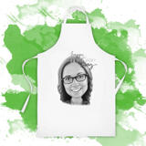 Apron for Gift on Mother's Day: Cartoon Drawing in Monochrome Digital Style