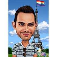 Person på semester i Paris färgad karikatyr från foto