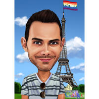 Person på ferie i Paris farvet karikatur fra foto