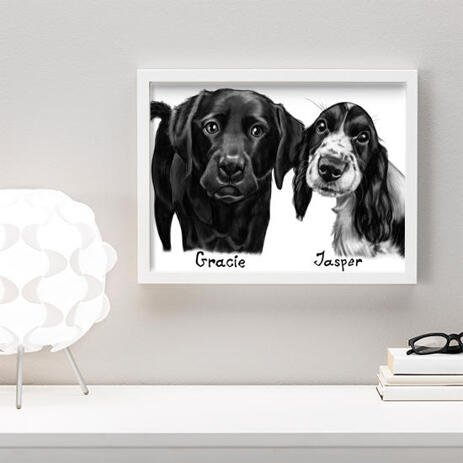 Dogs Caricature Drawing on Poster - example