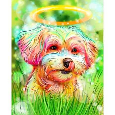 Watercolor Dog Loss Gift Memorial Portrait with Background - example
