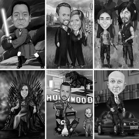 Black and White Movies Full Body Caricature with Custom Background - example