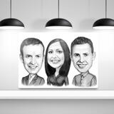 Work Team Caricature on Canvas