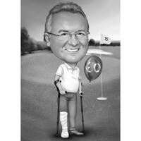 Custom Golfer Cartoon Portrait Gift in Black and White Style with Custom Background