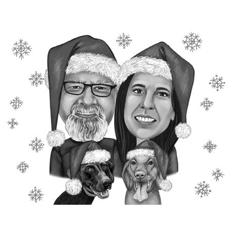 Couple Christmas and New Year Black and White Style Caricature Drawings - Owners and Pets - example