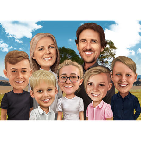 Custom Family Caricature from Photos in Digital Style - example