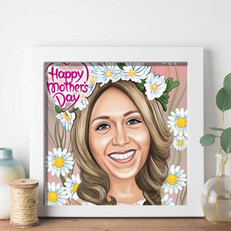 Custom Photo Printing: Digital Caricature Drawing from Photo for Mother's Day Gift - example