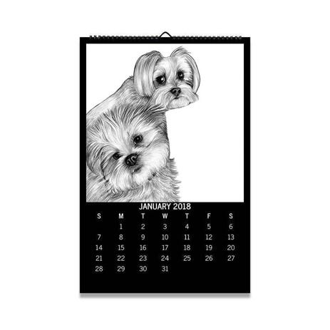 Dogs Portrait on Printed Calendar - example