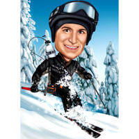 Downhill Ski Karikatur af person i farvet stil fra fotos
